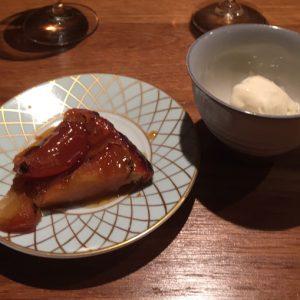 dessert (ミシュラン星の高級寿司「IMOUTO」のおまかせ)